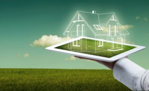 property technology: 3D model of a house floating out of an ipad